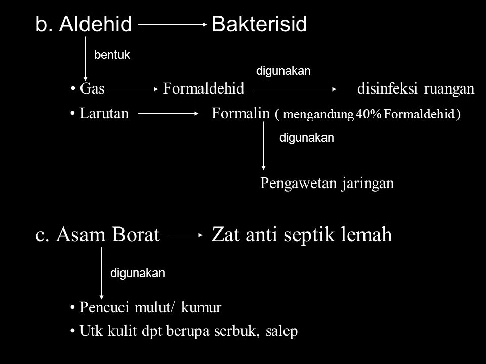 b. AldehidBakterisid Gas Formaldehiddisinfeksi ruangan LarutanFormalin ( mengandung 40% Formaldehid ) Pengawetan jaringan c. Asam BoratZat anti septik