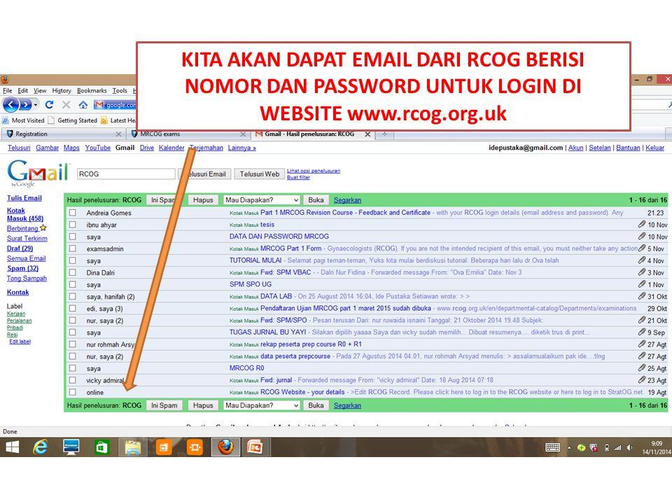 Buka kembali www.rcog.org.uk Klik sign in Isikan alamat email dan password Klik sign in