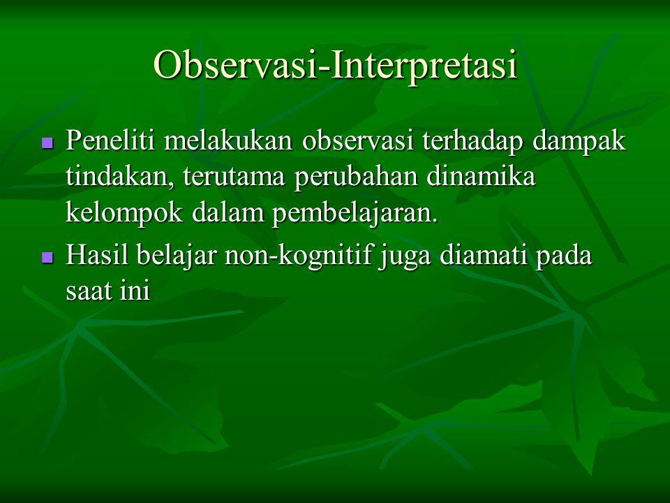 Observasi-Interpretasi Peneliti melakukan observasi terhadap dampak tindakan, terutama perubahan dinamika kelompok dalam pembelajaran.
