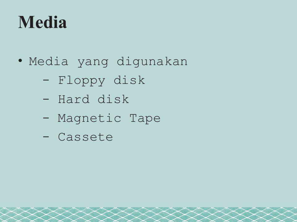 Media Media yang digunakan - Floppy disk - Hard disk - Magnetic Tape - Cassete