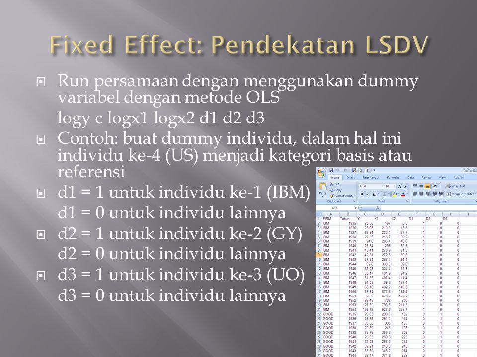  Run persamaan dengan menggunakan dummy variabel dengan metode OLS logy c logx1 logx2 d1 d2 d3  Contoh: buat dummy individu, dalam hal ini individu ke-4 (US) menjadi kategori basis atau referensi  d1 = 1 untuk individu ke-1 (IBM) d1 = 0 untuk individu lainnya  d2 = 1 untuk individu ke-2 (GY) d2 = 0 untuk individu lainnya  d3 = 1 untuk individu ke-3 (UO) d3 = 0 untuk individu lainnya