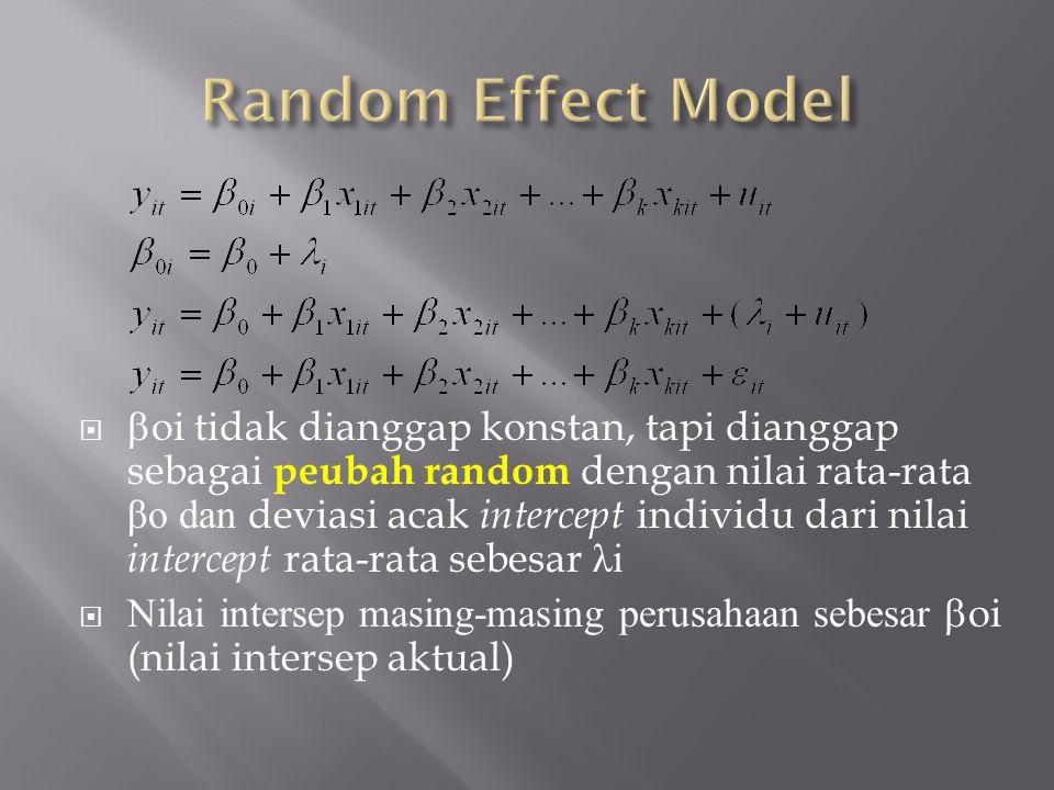   oi tidak dianggap konstan, tapi dianggap sebagai peubah random dengan nilai rata-rata βo dan deviasi acak intercept individu dari nilai intercept