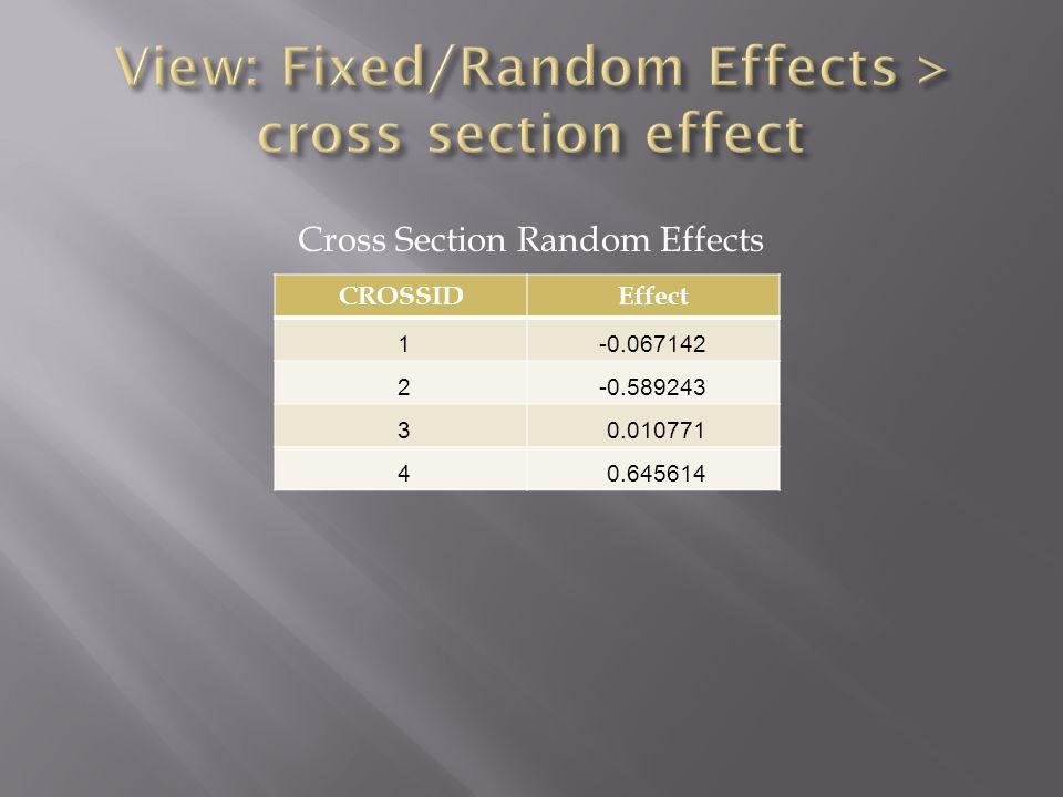 CROSSIDEffect 1-0.067142 2-0.589243 3 0.010771 4 0.645614 Cross Section Random Effects