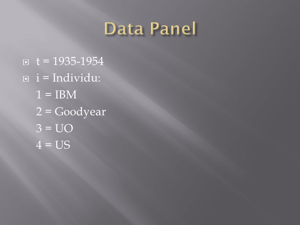  t = 1935-1954  i = Individu: 1 = IBM 2 = Goodyear 3 = UO 4 = US