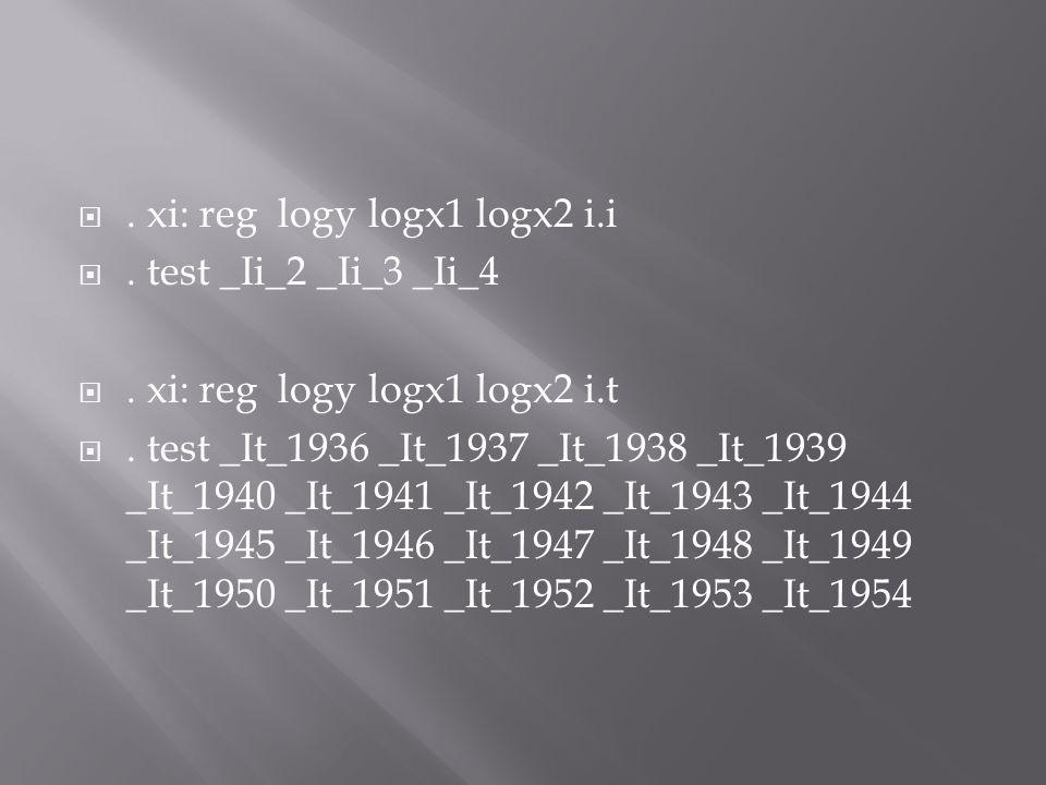 . xi: reg logy logx1 logx2 i.i . test _Ii_2 _Ii_3 _Ii_4 . xi: reg logy logx1 logx2 i.t . test _It_1936 _It_1937 _It_1938 _It_1939 _It_1940 _It_194