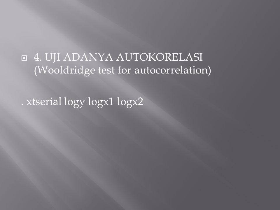  4. UJI ADANYA AUTOKORELASI (Wooldridge test for autocorrelation). xtserial logy logx1 logx2