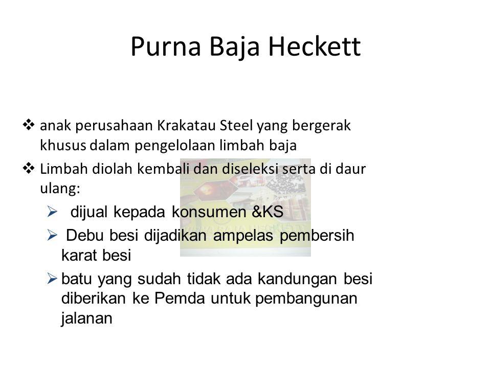 Purna Baja Heckett  anak perusahaan Krakatau Steel yang bergerak khusus dalam pengelolaan limbah baja  Limbah diolah kembali dan diseleksi serta di daur ulang:  dijual kepada konsumen &KS  Debu besi dijadikan ampelas pembersih karat besi  batu yang sudah tidak ada kandungan besi diberikan ke Pemda untuk pembangunan jalanan