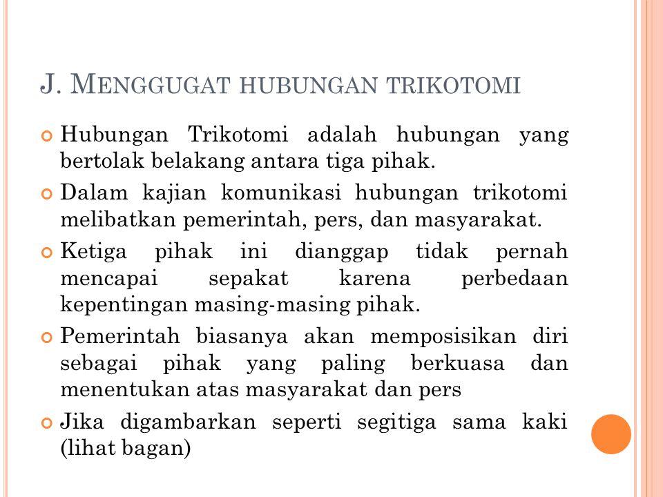 J. M ENGGUGAT HUBUNGAN TRIKOTOMI Hubungan Trikotomi adalah hubungan yang bertolak belakang antara tiga pihak. Dalam kajian komunikasi hubungan trikoto