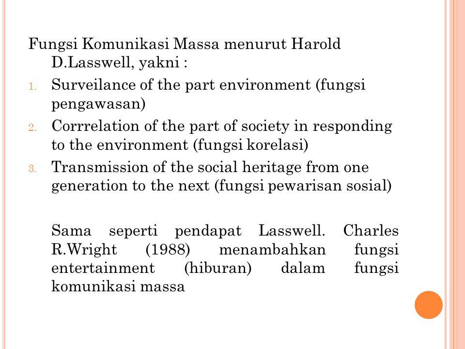 Fungsi Komunikasi Massa menurut Harold D.Lasswell, yakni : 1. Surveilance of the part environment (fungsi pengawasan) 2. Corrrelation of the part of s