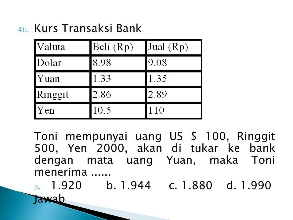 46. Kurs Transaksi Bank Toni mempunyai uang US $ 100, Ringgit 500, Yen 2000, akan di tukar ke bank dengan mata uang Yuan, maka Toni menerima...... a.