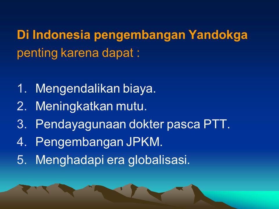 Di Indonesia pengembangan Yandokga penting karena dapat : 1.Mengendalikan biaya. 2.Meningkatkan mutu. 3.Pendayagunaan dokter pasca PTT. 4.Pengembangan