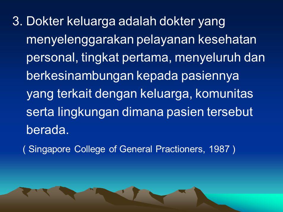 3. Dokter keluarga adalah dokter yang menyelenggarakan pelayanan kesehatan personal, tingkat pertama, menyeluruh dan berkesinambungan kepada pasiennya