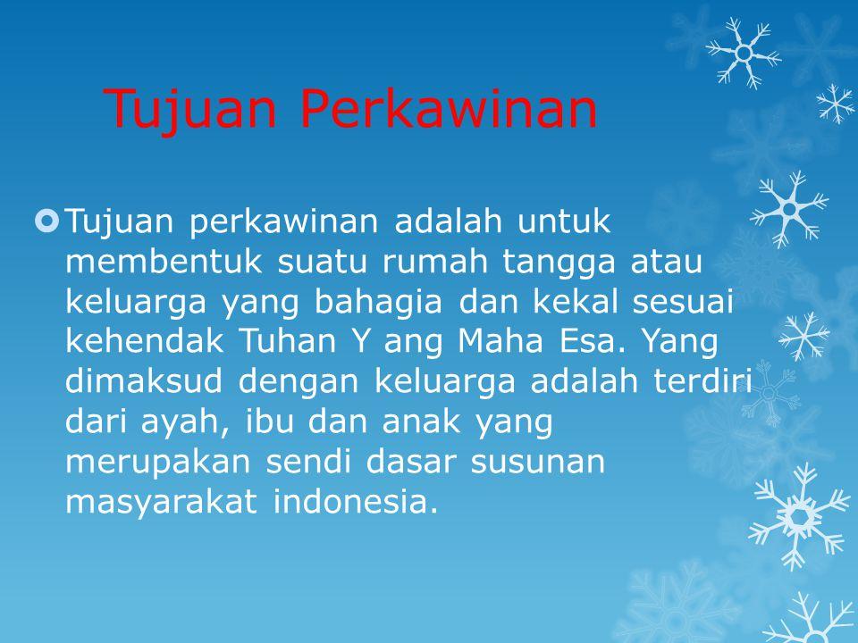 Perkawinan Campuran  Perkawinan campuran adalah perkawinan antara dua orang yang di indonesia tunduk pada hukum yang berlainan karena perbedaan kewarganegaraan dan salah satu pihak berkewarganegaraan indonesia (pasal 57 UU no 1 tahun 1974)  Pasal 58 UUP bagi orang-orang yang berlainan kewarganegaraan yang melakukan perkawinan campuran, dapat memperoleh kewarganegaraan dari suami/isteri dan dapat pula kewarganegaraanya.