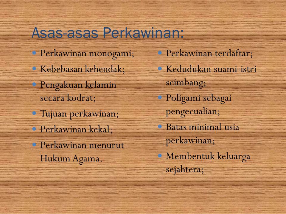 Asas-asas Perkawinan: Perkawinan monogami; Kebebasan kehendak; Pengakuan kelamin secara kodrat; Tujuan perkawinan; Perkawinan kekal; Perkawinan menuru