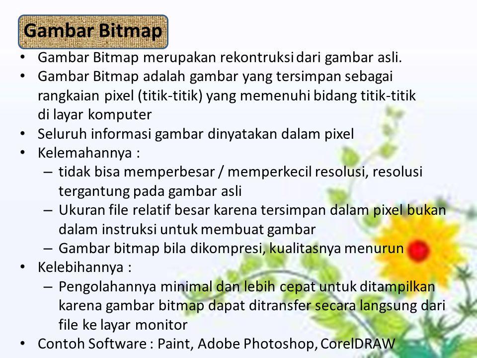 Gambar Bitmap Gambar Bitmap merupakan rekontruksi dari gambar asli. Gambar Bitmap adalah gambar yang tersimpan sebagai rangkaian pixel (titik-titik) y