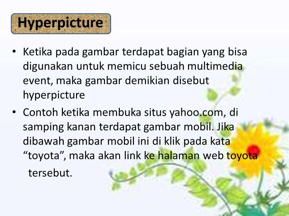 Hyperpicture Ketika pada gambar terdapat bagian yang bisa digunakan untuk memicu sebuah multimedia event, maka gambar demikian disebut hyperpicture Contoh ketika membuka situs yahoo.com, di samping kanan terdapat gambar mobil.