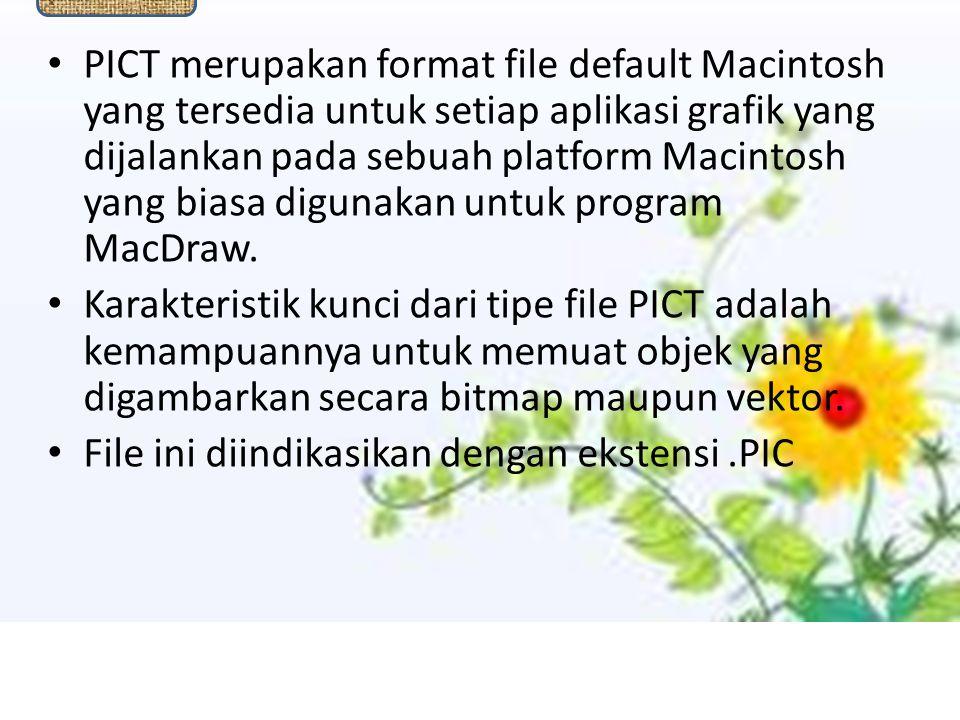 PICT PICT merupakan format file default Macintosh yang tersedia untuk setiap aplikasi grafik yang dijalankan pada sebuah platform Macintosh yang biasa digunakan untuk program MacDraw.