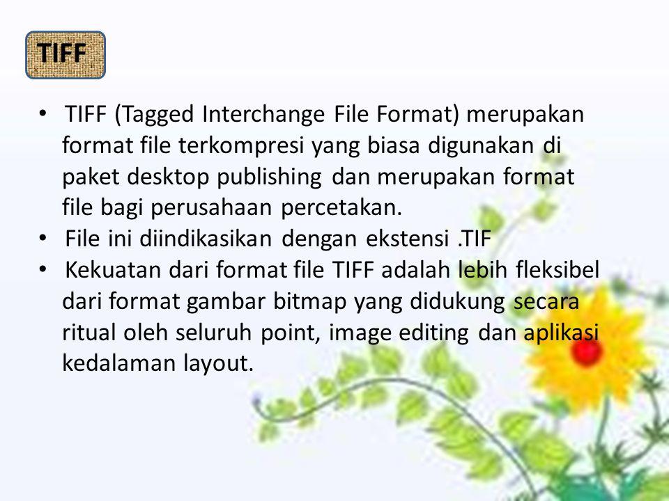 TIFF (Tagged Interchange File Format) merupakan format file terkompresi yang biasa digunakan di paket desktop publishing dan merupakan format file bagi perusahaan percetakan.