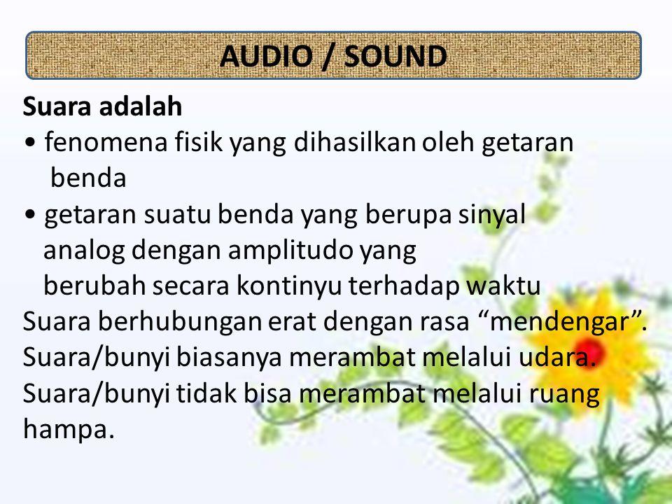 Suara adalah fenomena fisik yang dihasilkan oleh getaran benda getaran suatu benda yang berupa sinyal analog dengan amplitudo yang berubah secara kontinyu terhadap waktu Suara berhubungan erat dengan rasa mendengar .