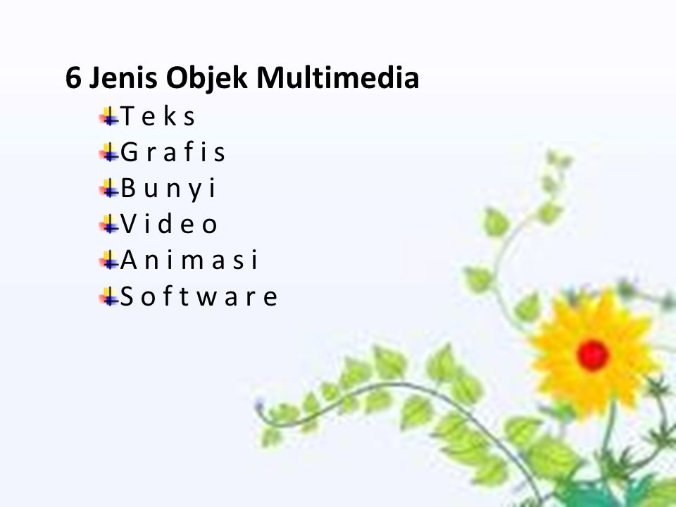 6 Jenis Objek Multimedia T e k s G r a f i s B u n y i V i d e o A n i m a s i S o f t w a r e