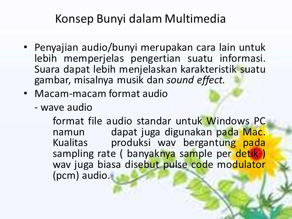 Konsep Bunyi dalam Multimedia Penyajian audio/bunyi merupakan cara lain untuk lebih memperjelas pengertian suatu informasi. Suara dapat lebih menjelas
