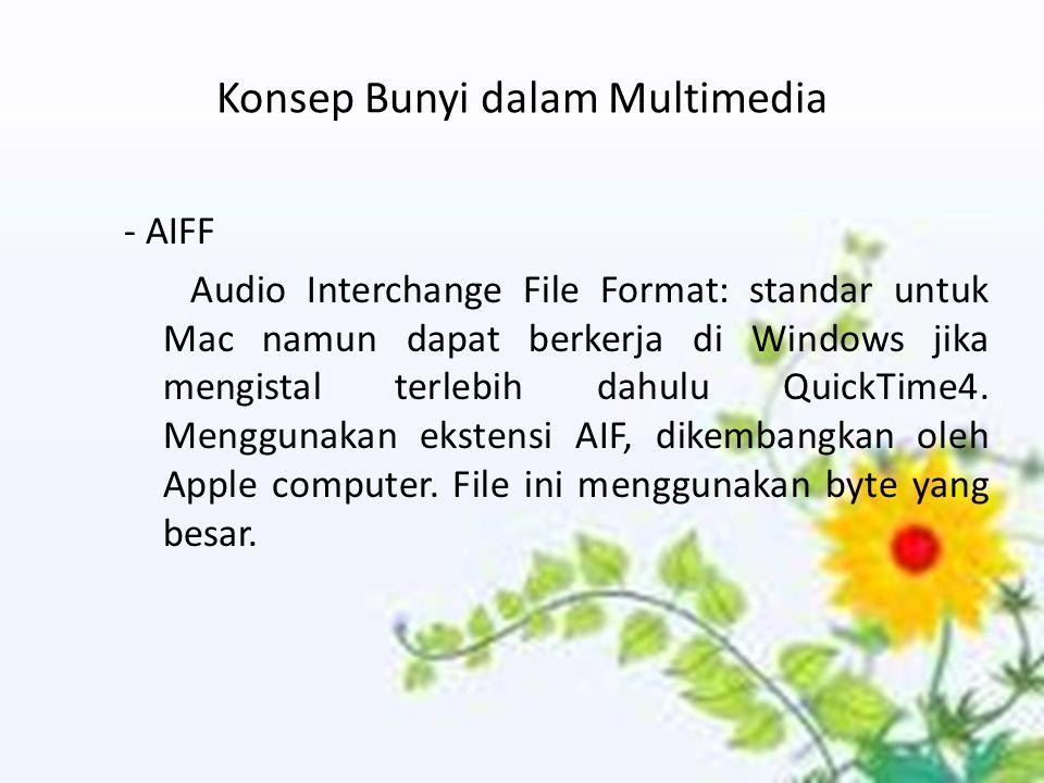 Konsep Bunyi dalam Multimedia - AIFF Audio Interchange File Format: standar untuk Mac namun dapat berkerja di Windows jika mengistal terlebih dahulu QuickTime4.