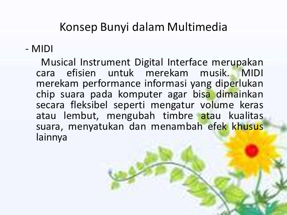 Konsep Bunyi dalam Multimedia - MIDI Musical Instrument Digital Interface merupakan cara efisien untuk merekam musik. MIDI merekam performance informa