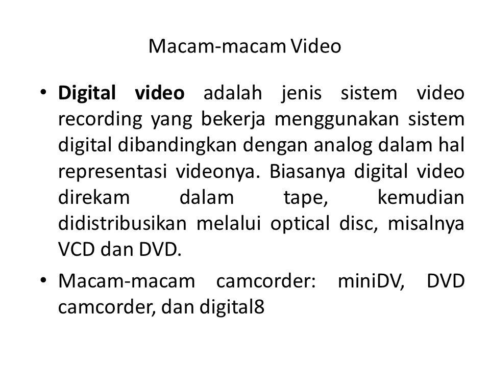 Macam-macam Video Digital video adalah jenis sistem video recording yang bekerja menggunakan sistem digital dibandingkan dengan analog dalam hal representasi videonya.