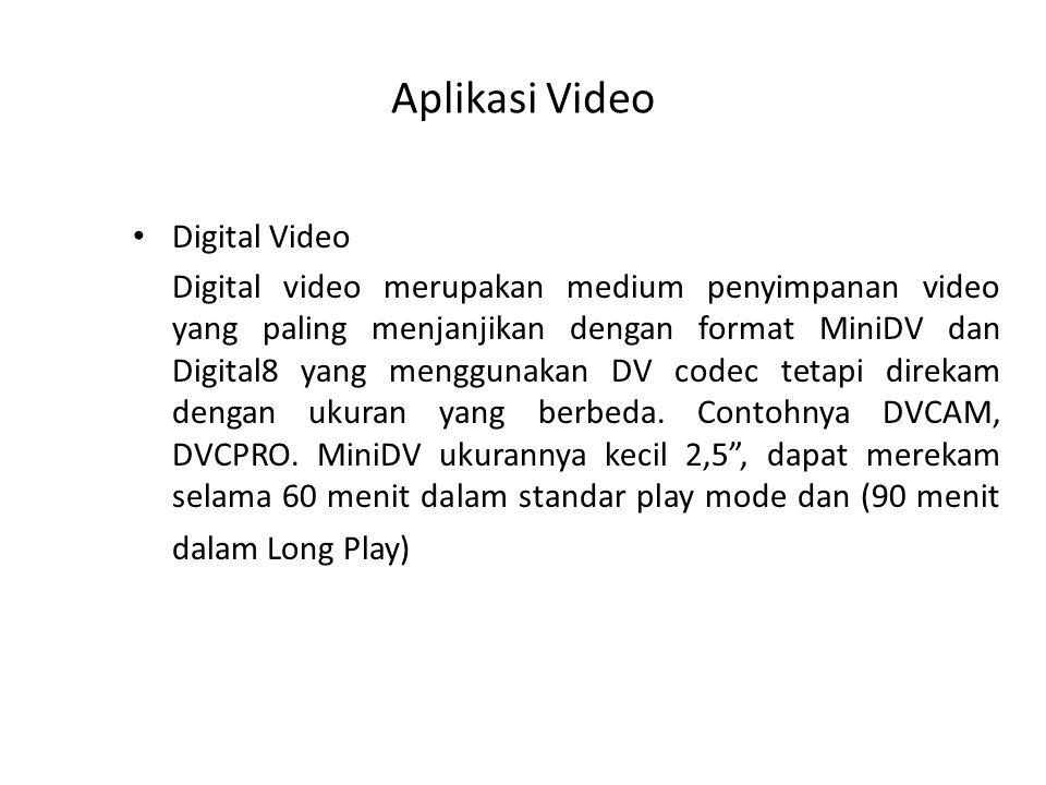 Aplikasi Video Digital Video Digital video merupakan medium penyimpanan video yang paling menjanjikan dengan format MiniDV dan Digital8 yang menggunakan DV codec tetapi direkam dengan ukuran yang berbeda.
