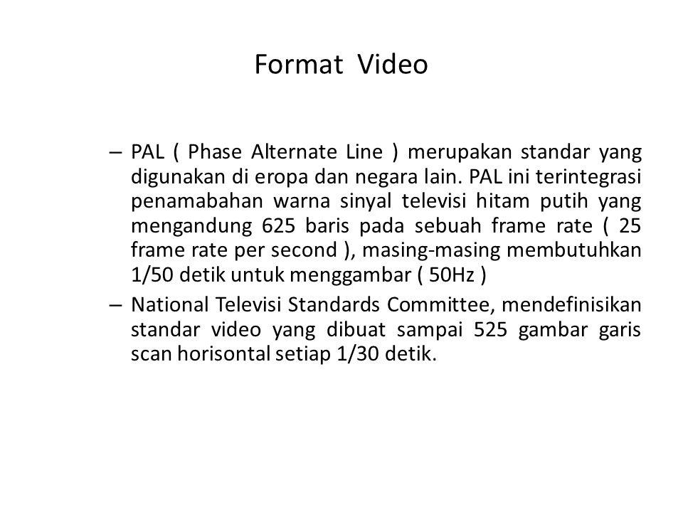 Format Video – PAL ( Phase Alternate Line ) merupakan standar yang digunakan di eropa dan negara lain. PAL ini terintegrasi penamabahan warna sinyal t