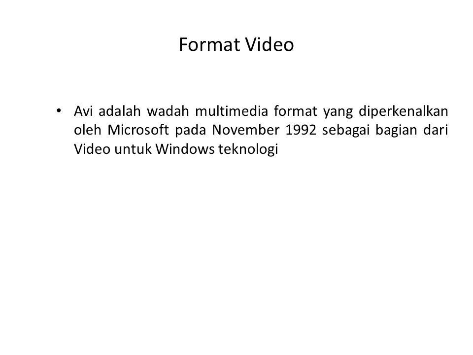 Format Video Avi adalah wadah multimedia format yang diperkenalkan oleh Microsoft pada November 1992 sebagai bagian dari Video untuk Windows teknologi