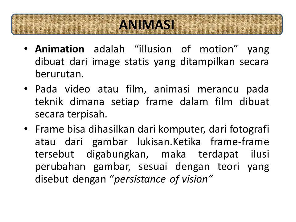 """Animation adalah """"illusion of motion"""" yang dibuat dari image statis yang ditampilkan secara berurutan. Pada video atau film, animasi merancu pada tekn"""