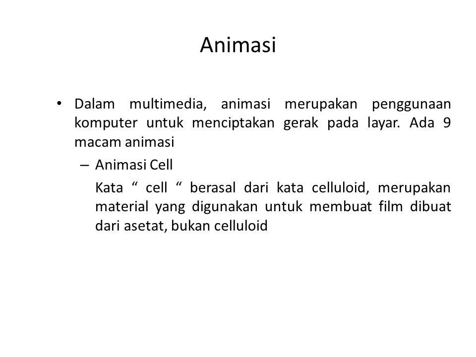 """Animasi Dalam multimedia, animasi merupakan penggunaan komputer untuk menciptakan gerak pada layar. Ada 9 macam animasi – Animasi Cell Kata """" cell """" b"""