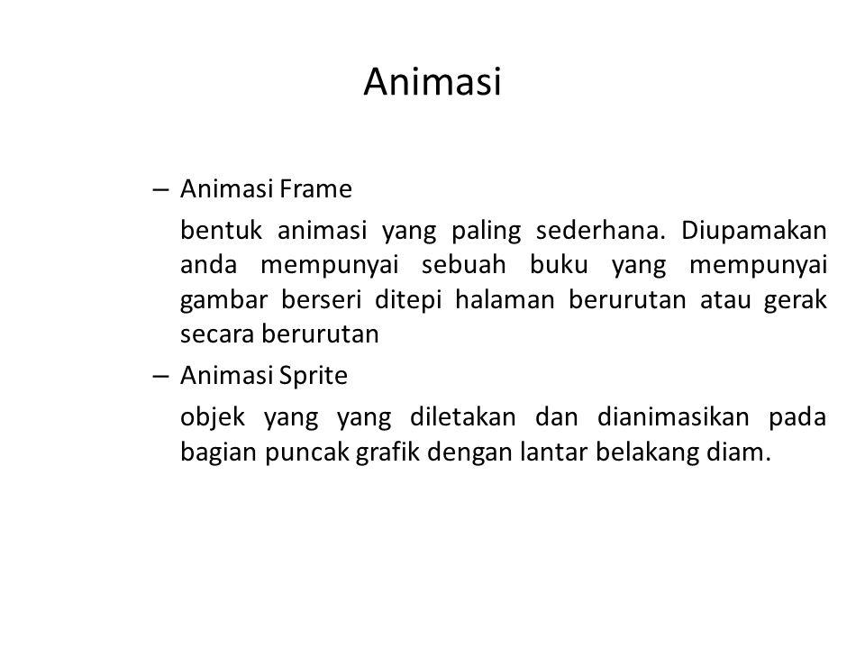 Animasi – Animasi Frame bentuk animasi yang paling sederhana. Diupamakan anda mempunyai sebuah buku yang mempunyai gambar berseri ditepi halaman berur