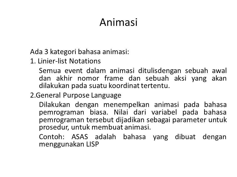 Animasi Ada 3 kategori bahasa animasi: 1. Linier-list Notations Semua event dalam animasi ditulisdengan sebuah awal dan akhir nomor frame dan sebuah a