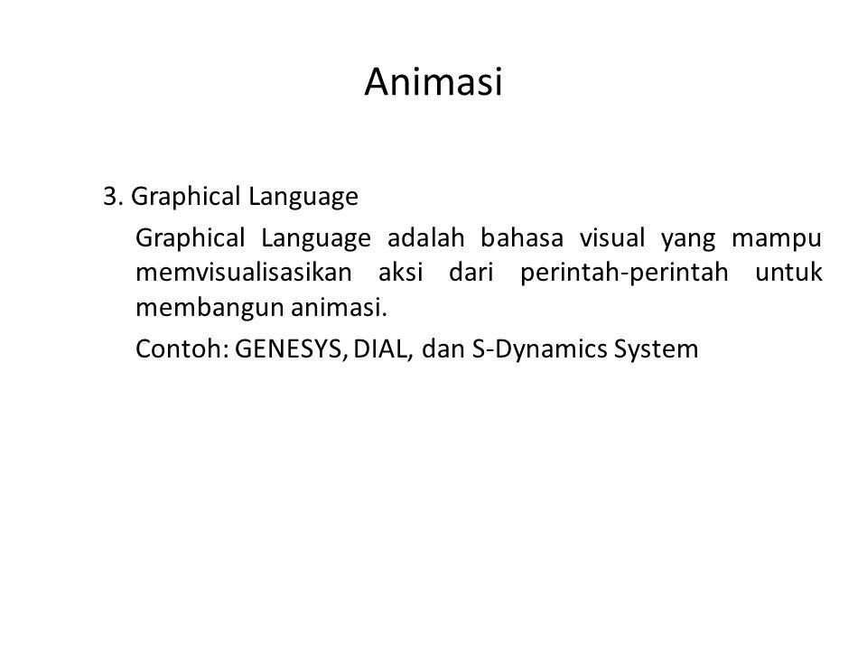 Animasi 3. Graphical Language Graphical Language adalah bahasa visual yang mampu memvisualisasikan aksi dari perintah-perintah untuk membangun animasi