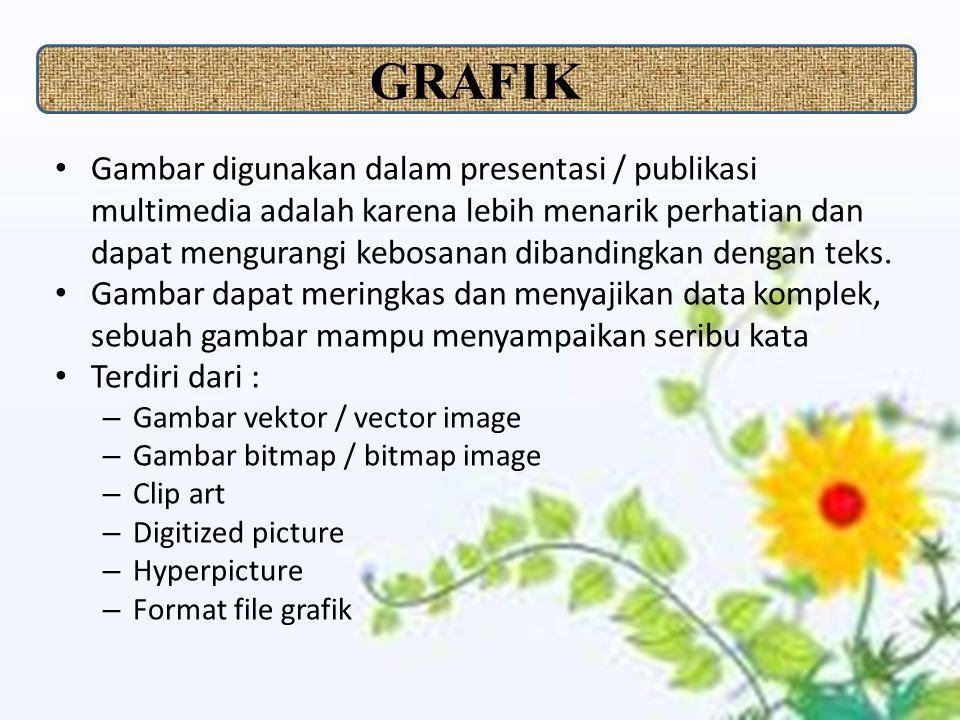 Gambar digunakan dalam presentasi / publikasi multimedia adalah karena lebih menarik perhatian dan dapat mengurangi kebosanan dibandingkan dengan teks.