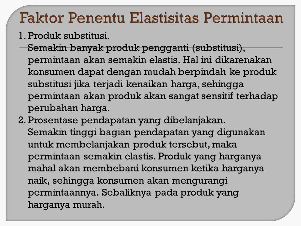 1. Produk substitusi. Semakin banyak produk pengganti (substitusi), permintaan akan semakin elastis. Hal ini dikarenakan konsumen dapat dengan mudah b