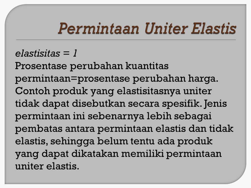 elastisitas > 1 Prosentase perubahan kuantitas permintaan > prosentase perubahan harga.