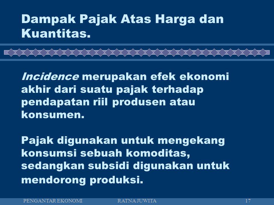 PENGANTAR EKONOMIRATNA JUWITA18 Incidence suatu pajak merupakan dampak dari pajak terhadap pendapatan produsen dan konsumen.