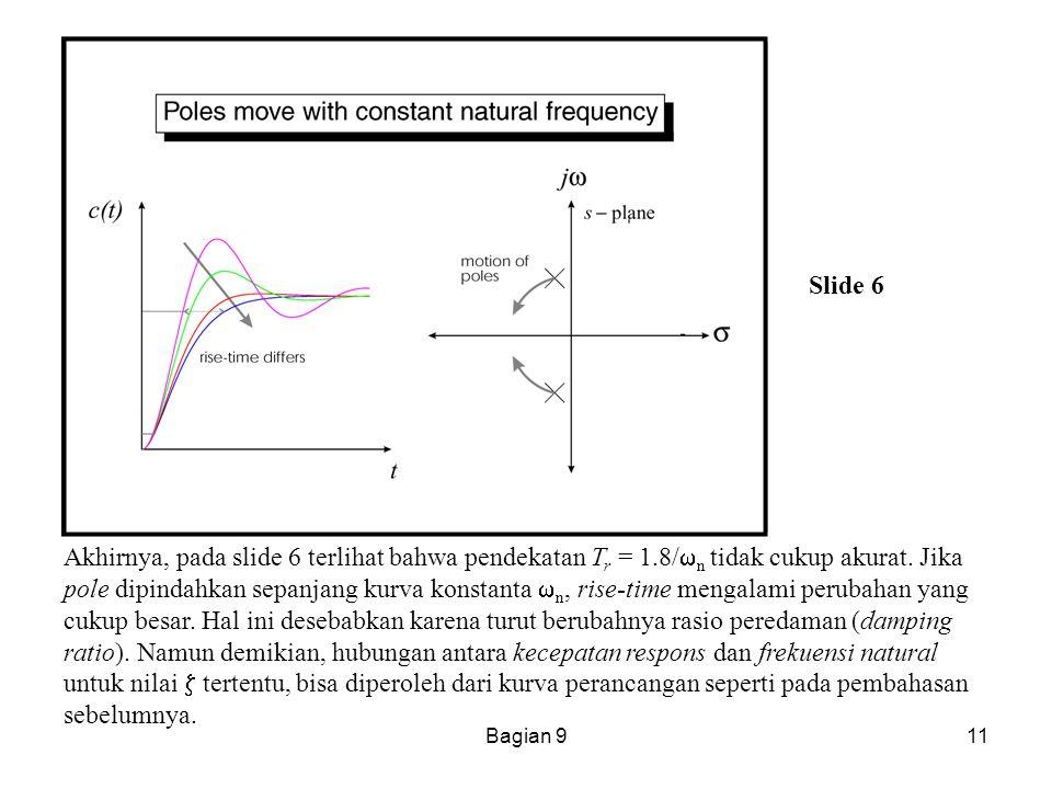 Bagian 911 Slide 6 Akhirnya, pada slide 6 terlihat bahwa pendekatan T r = 1.8/  n tidak cukup akurat. Jika pole dipindahkan sepanjang kurva konstanta