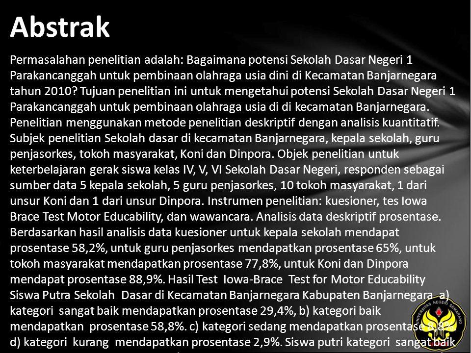 Abstrak Permasalahan penelitian adalah: Bagaimana potensi Sekolah Dasar Negeri 1 Parakancanggah untuk pembinaan olahraga usia dini di Kecamatan Banjarnegara tahun 2010.