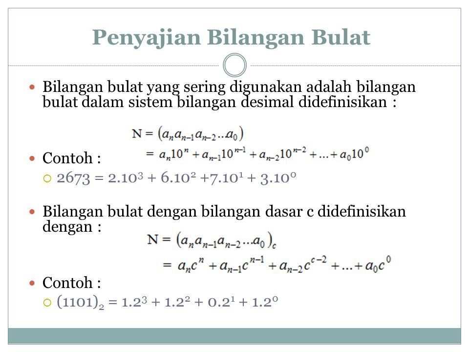Penyajian Bilangan Bulat Bilangan bulat yang sering digunakan adalah bilangan bulat dalam sistem bilangan desimal didefinisikan : Contoh :  2673 = 2.