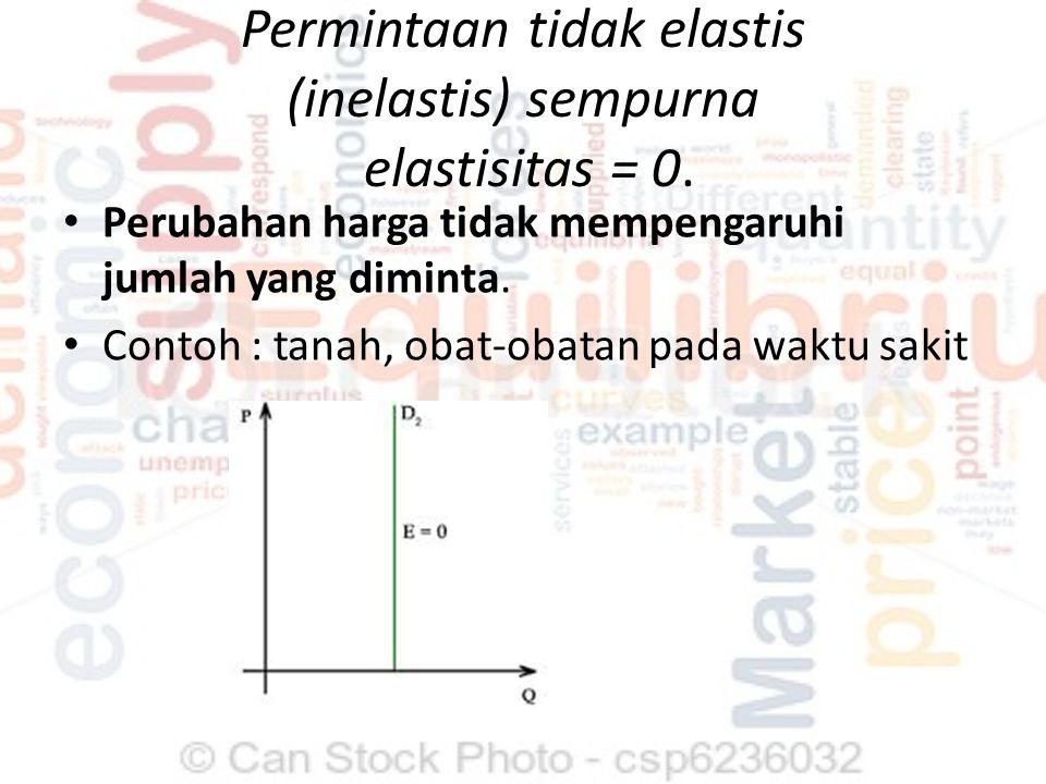 Permintaan tidak elastis/inelastis elastisitas < 1 Prosentase perubahan kuantitas permintaan < dari prosentase perubahan harga Contoh : beras / kebutuhan pokok, bensin