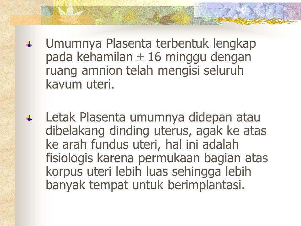Umumnya Plasenta terbentuk lengkap pada kehamilan  16 minggu dengan ruang amnion telah mengisi seluruh kavum uteri.