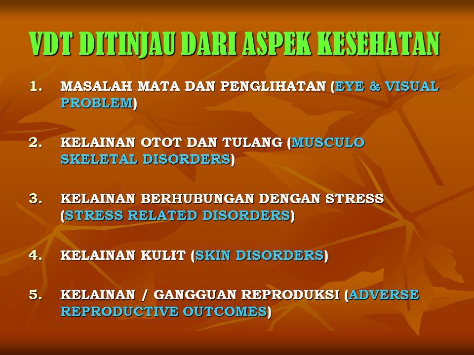 VDT DITINJAU DARI ASPEK KESEHATAN 1.MASALAH MATA DAN PENGLIHATAN (EYE & VISUAL PROBLEM) 2.KELAINAN OTOT DAN TULANG (MUSCULO SKELETAL DISORDERS) 3.KELA