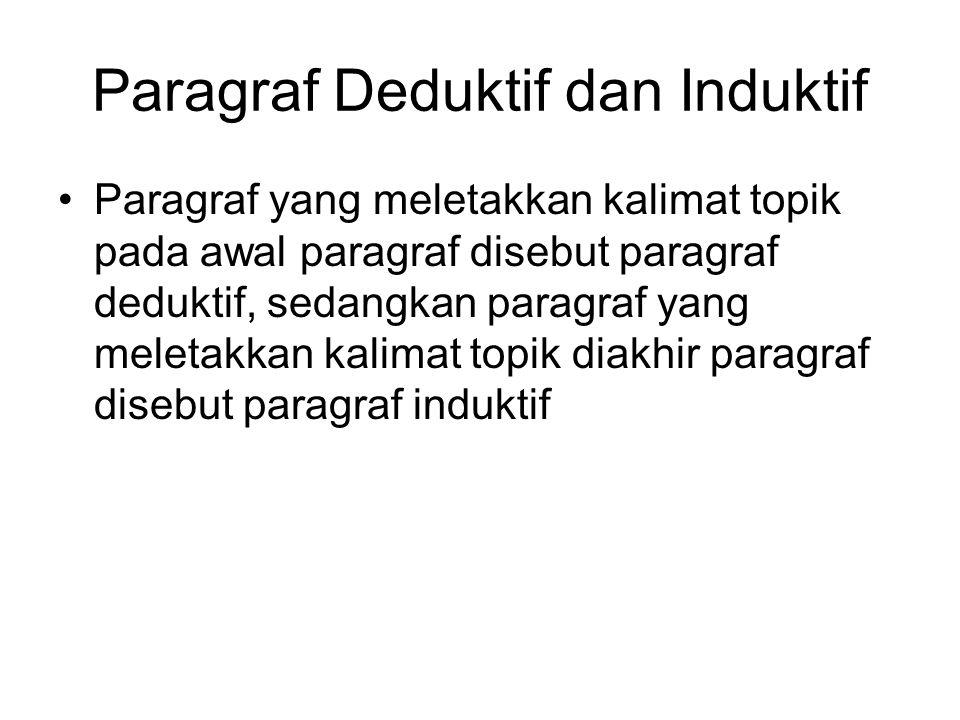 Paragraf Deduktif dan Induktif Paragraf yang meletakkan kalimat topik pada awal paragraf disebut paragraf deduktif, sedangkan paragraf yang meletakkan kalimat topik diakhir paragraf disebut paragraf induktif