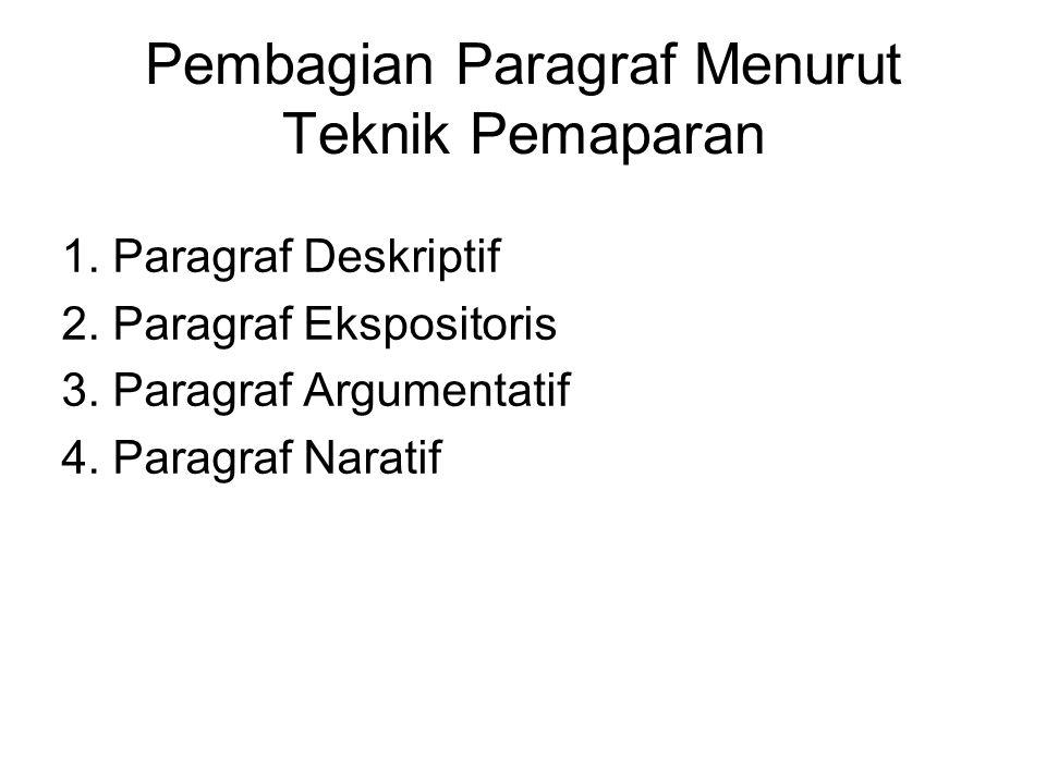 Pembagian Paragraf Menurut Teknik Pemaparan 1. Paragraf Deskriptif 2. Paragraf Ekspositoris 3. Paragraf Argumentatif 4. Paragraf Naratif