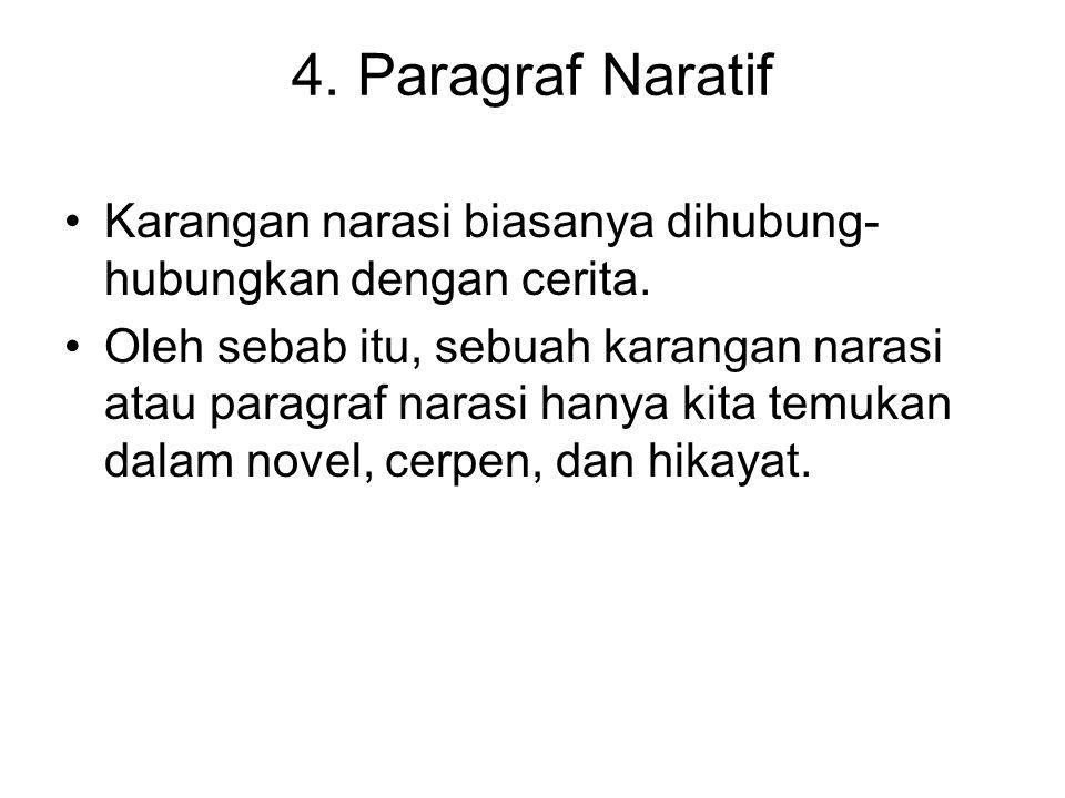 4. Paragraf Naratif Karangan narasi biasanya dihubung- hubungkan dengan cerita. Oleh sebab itu, sebuah karangan narasi atau paragraf narasi hanya kita