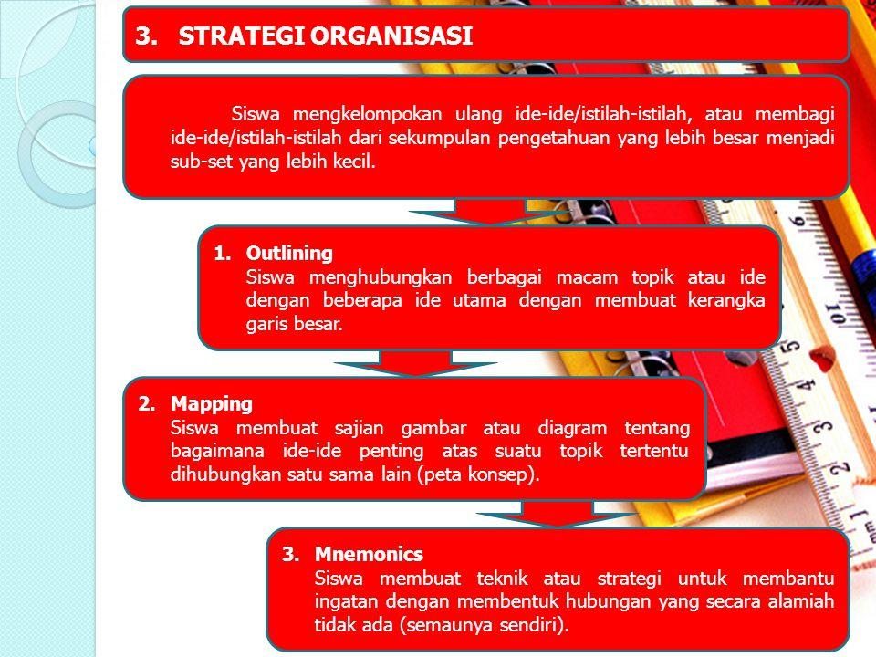 3.STRATEGI ORGANISASI Siswa mengkelompokan ulang ide-ide/istilah-istilah, atau membagi ide-ide/istilah-istilah dari sekumpulan pengetahuan yang lebih
